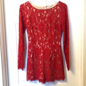 Mustard Seed red & nude lace romper